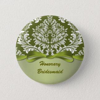 Damast-grüne Hochzeits-Ehrenbrautjungfer Runder Button 5,1 Cm