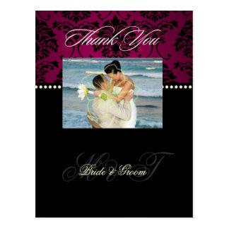 Damast-Hochzeit danken Ihnen Fotopostkarten, Postkarte