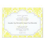 Damast-Hochzeits-Einladungen des Monogramm-M gelbe