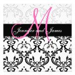 Damast-Hochzeits-Einladungs-Monogramm nennt Rosa
