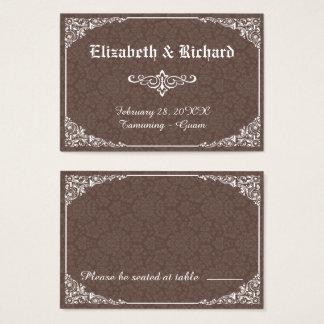 Damast-Hochzeits-Platzkarte Browns gotische Visitenkarte