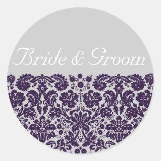 Damast-lila Hochzeit Runder Aufkleber