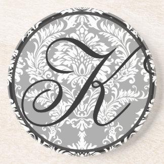 Damast-Monogramm-Hochzeits-Jahrestags-Untersetzer Bierdeckel