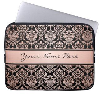 Damast-Muster der Rosen-Goldsteigungs-| auf Laptopschutzhülle