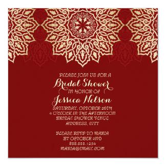 Damast-Spitze-rotes LuxusBrautparty Quadratische 13,3 Cm Einladungskarte