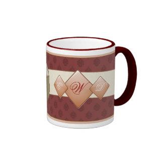 Damast-und Diamant-Hochzeits-Tasse Ringer Tasse