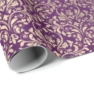 Damast-Veilchen-lila Trauben-Pflaumen-Gold Geschenkpapier