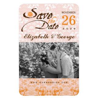 Damast-Vintager Spitze-Save the Date Foto-Magnet Magnet