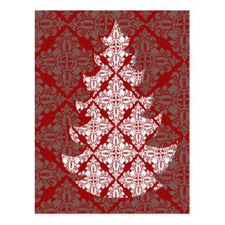 Damast-Weihnachtsbaum Postkarte