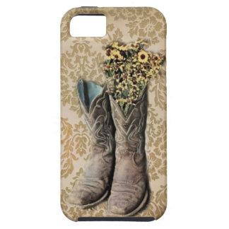 Damast-Wildblume Westernland-Cowboystiefel iPhone 5 Schutzhülle