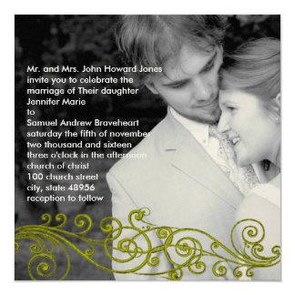 Damast Wirbel Ihre Foto-Hochzeits-Einladung Quadratische 13,3 Cm Einladungskarte