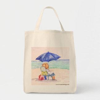 Dame auf Strand-Taschen-Tasche Tragetasche