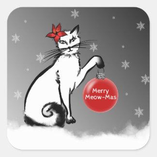 Dame Cat zeigt Ihre Weihnachtswünsche! Quadratischer Aufkleber