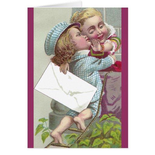 Dame Coyly Fends Off Kiss Karten