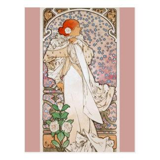 Dame der Kamelien durch Alphonse Mucha Postkarte