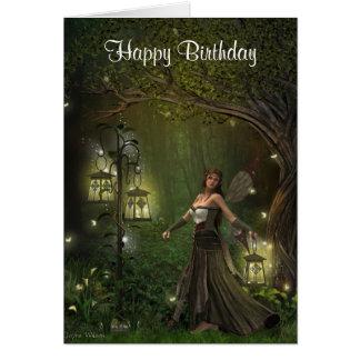 Dame der Laternen-Geburtstags-Karte Grußkarte
