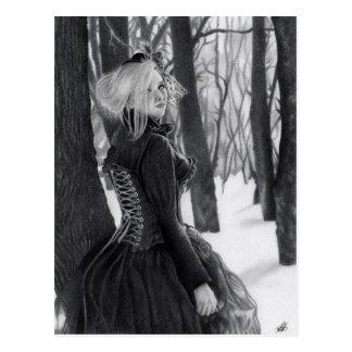 Dame der Winter-Postkarten Postkarte