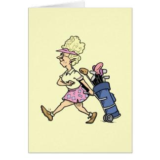 Dame Golfer Tshirts und Geschenke Grußkarte