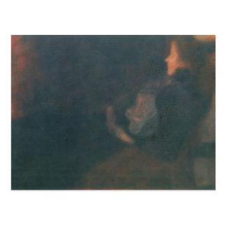Dame Gustav-Klimt- durch den Kamin Postkarte