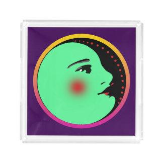 Dame im Mond-kleinen kundenspezifischen Acryl Tablett