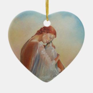 Dame in der Silk Verzierung Keramik Herz-Ornament