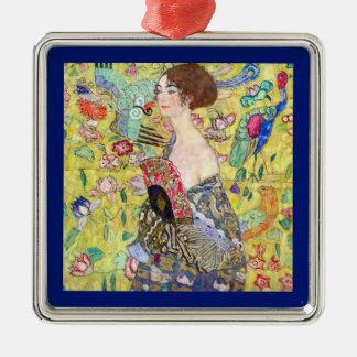 Dame mit Fan durch Gustav Klimt, Vintager Japonism Silbernes Ornament
