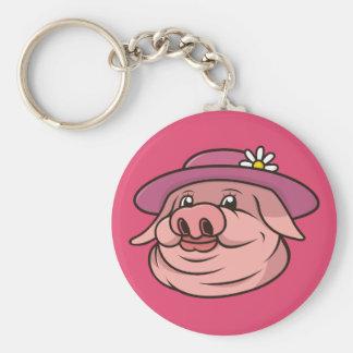 Dame Pig Portrait Pink Keychain Schlüsselanhänger