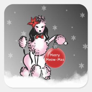 Dame Poodle zeigt Ihre Weihnachtswünsche! Quadratischer Aufkleber