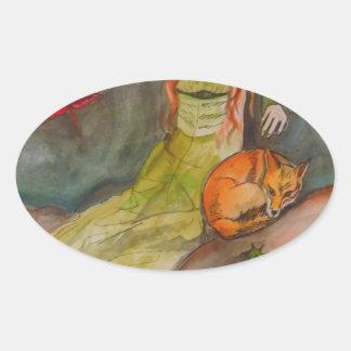 Dame und der Fox Ovaler Aufkleber