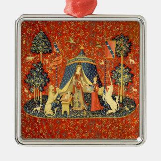 Dame und die Einhorn-mittelalterliche Quadratisches Silberfarbenes Ornament