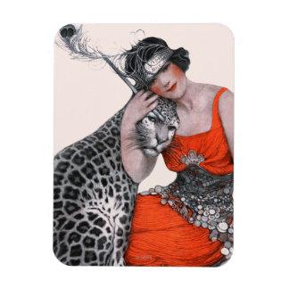 Dame und Leopard Magnet