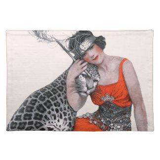 Dame und Leopard Stofftischset