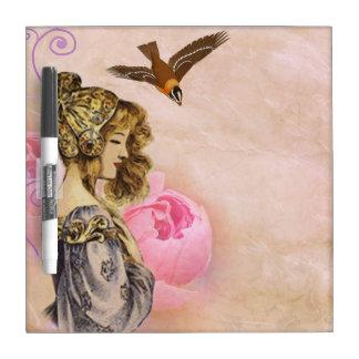 Dame und Vogel Trockenlöschtafel