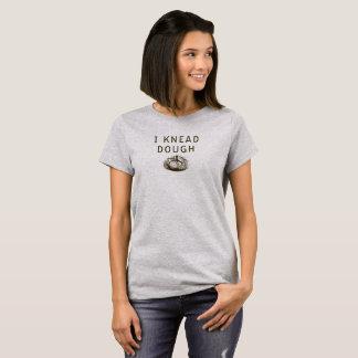 Damen-Bäckerei-Shirt, knete ich Teig durch blaue T-Shirt