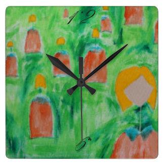 Damen-gehende quadratische Uhr 2 Quadratische Wanduhr