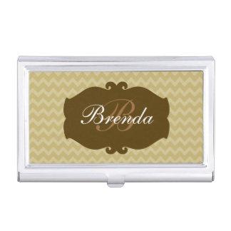 Damen-Monogramm-Initiale mit noblem Emblem Visitenkarten-Behälter