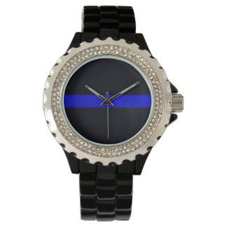 Damen verdünnen blaue Linie diamante de Armbanduhr