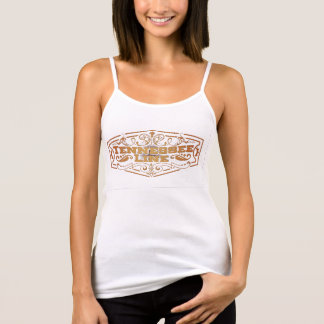 Damen-weißes Spaghetti-Bügel-Logo-Gold Tank Top