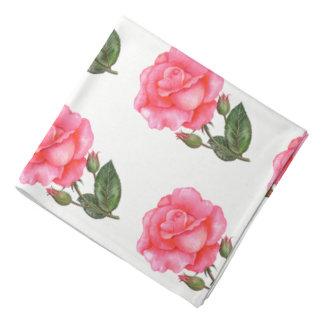 Damenbandana-Rosa-Rosen Halstuch