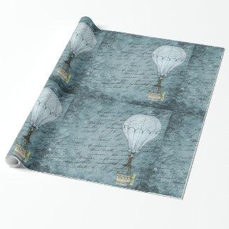 Dämmerungs-blaue Heißluft-Ballon Steampunk Geschenkpapier