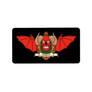 Dämon-Teufel-Schädel mit Schläger-Flügeln und Adressaufkleber