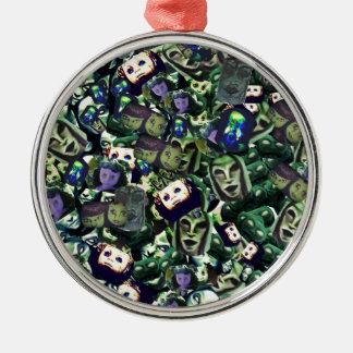 Dämonen und Puppen, ursprünglicher Entwurf der Rundes Silberfarbenes Ornament