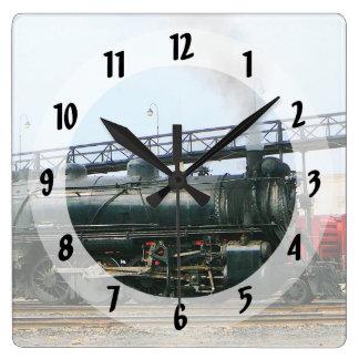 Dampf-Lokomotive Quadratische Wanduhr