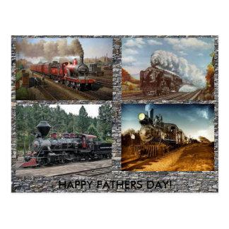 Dampf-Motor-Vatertagskarte Postkarten