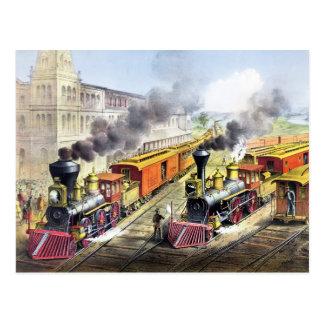 Dampf-Motor-Züge Postkarte