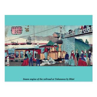 Dämpfen Sie Motor der Eisenbahn bei Takanawa durch Postkarte