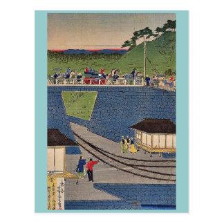 Dämpfen Sie Zug bei Takanawa, Tokyo durch Utagawa, Postkarte