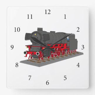 Dampflokomotive Quadratische Wanduhr