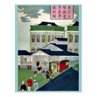 Dampfzug, der durch Shiodama durch Ikkei Postkarte