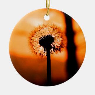 Dandelion Flower ,(Löwenzahn) Rundes Keramik Ornament